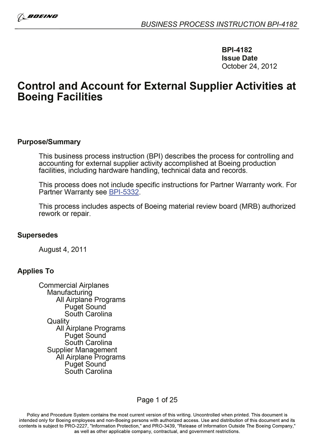 Boeing BPI-4182 Outlocated Work Procedures